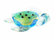 "New 5"" Hand Blown Art Glass Sculpture Figurine Statue Turtle Clear Blue Green"