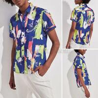 Mens Hawaiian Short Sleeve Floral Beach Shirt Casual Loose Holiday Blouse Tops