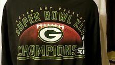 NFL Green Bay Packers Superbowl XLV  2011 Black T Shirt LS Adult XXL 100% cotton