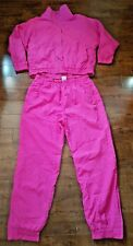 Puma Warm UP Track Jogging Suit Sz L Magenta and Topaz Purple Wide Balloon Arms