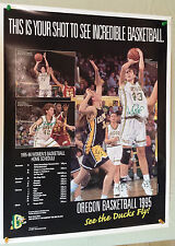 Vintage 1995 SIGNED Oregon DUCKS Womens Basketball POSTER Schedule 22 x 27 Auto