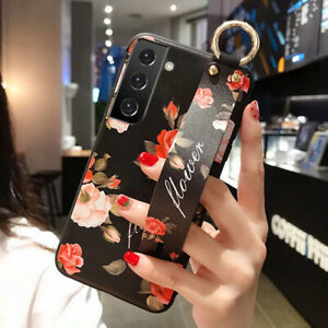 For Samsung S21 Ultra S20 FE S9 A71 A51 Relief Flower Soft Hand Strap Case Cover
