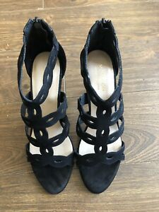 Brand New Monsoon Black Suede Leather Cage Stiletto Heel Shoes Size 5 Labels On