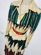 Ivory Red Green Long Sleeve Geometric Print Dress Size 10