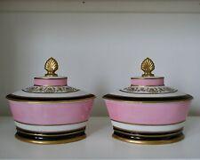 Mottahedeh Design Set of 2 Vintage Ceramic Tureens - Pink, Ivory, Gold, Black