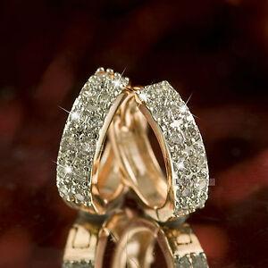 14k yellow white gold gf made with swarovski crystal huggies earrings