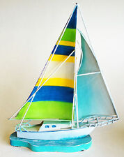 SCULPTURES - TABLETOP SAILBOAT SCULPTURE - NAUTICAL DECOR