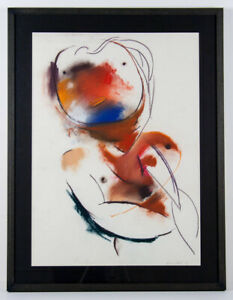 Anne HALL Rebirth - Original signed + framed pastel drawing, abstract, modernist