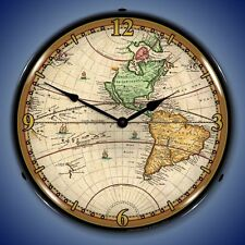 New World Map of 1730 LIGHT UP clock   Free Fast Shipping USA Made