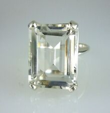 Natural White Crystal Quartz Very Large Emerald Cut Ringn 20X15MM 925 Silver