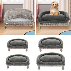 Puppy Pet Dog Rattan Sleep Bed Kennel Nest Raised Bed Couch House Cushion Padded