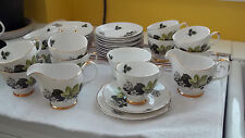 12 TRIOS MINUS A CUP, SUGAR 2 MILK JUGS BY DORCHESTER CHINA WITH LEAF & FLOWER