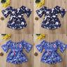 Toddler Baby Girl Off Shoulder Floral Holiday Bow Short Romper Jumpsuit Outfits