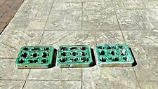 Set Of 3 Antique Chinese Breezeway Pottery Glazed Garden Tiles Green