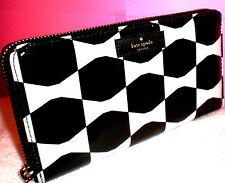 KATE SPADE NEW YORK DAYCATION NEDA BOW TILE BLACK/CREAM WALLET CLUTCH~$158~LAST1