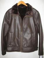 Black Rivet BK6AU848 Faux Leather Fur Lined Jacket Mens Med Lg NWT Black / Brown