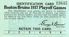 1937 Boston Bruins Play-Off Vs Montreal Ticket Pass Schmidt/Shore/Cowley/Clapper
