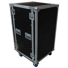 "Flightcase fly RACK 19"" 20U DOPPIO COPERCHIO CON SKATE E RUOTE DJ baule"
