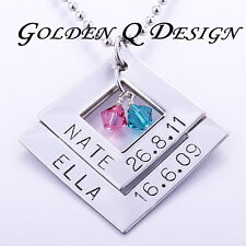 Personalised Stainless Steel Any Names Date Or Words Diamond Shape Necklace D144