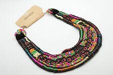 New NWT Decree Necklace Beaded Bib Multi Color Statement On Velvet