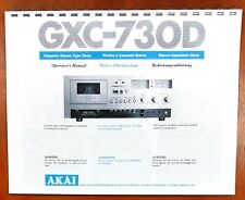 Akai GXC-730D Cassette Tape Deck Owners Manual