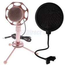 Computer Condenser Microphone for Sound Recording w/ Stand Mic Pop Screen