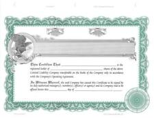 New listing 20 Green StockSmith Stock Certificates with Shares for Llcs