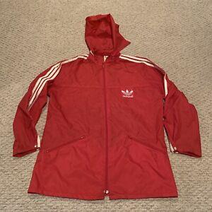 VTG Adidas Trefoil Windbreaker Jacket with Stow-Away Hood Soccer Mens Medium