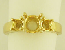 THREE STONE RING MOUNTING 14K YELLOW GOLD FOR 1CT T.W CENTER 5MM AND SIDE 4MM