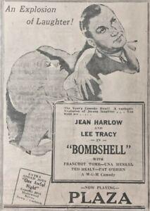 "1933 Jean Harlow movie ad. - ""Bombshell"" - Original"