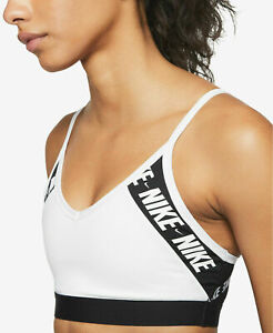 Nike Womens Indy Logo Sports Bra Dri-Fit Light Support SZ S White DB4639-100