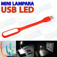 Lampara LED USB flexible color ROJO luz portatil linterna leer bateria externa -