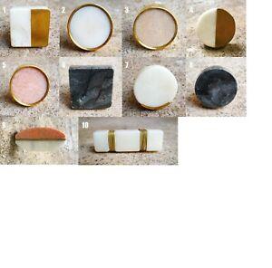Solid Stone Cupboard Door Knob   Marble & Brass Cabinet Handle Pull