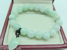 Natural Certified A Grade Jade (jadeite) 10mm Round Bead Bracelet / Peach