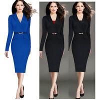 Women V Neck Elegant  Long Sleeve Lapel Belted Wear to Work Pencil Sheath Dress