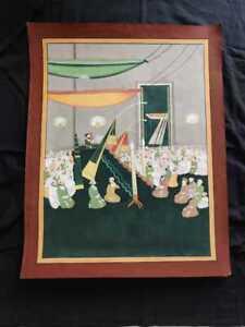 Antique Islamic Handmade qajar Painting Shia Majlis Ghulam Ali Khan 19thCentury
