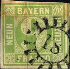 GERMAN STATES - BAYERN - 1849/50 - Grande cifra in cerchio. Carta con fili di s