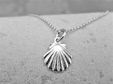 "Sterling Silver (925)  Solid 3D Charm ""Scallop Shell"""
