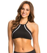 Kenneth Cole Women Black Dare to Stare High Neck Crop Bikinis Set - Size Medium