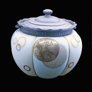 Antique Crown Milano Royal Flemish Cracker Barrel Biscuit Jar Cupid Cherub (4822