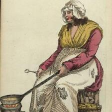 Crepes pancakes fritters woman cook merchant c.1820 hand color aquatint print