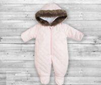 Baby Boy Girl Snowsuit Overall Fur Hood Padded Warm Winter Mittens 0 3 Months