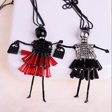 Fashion Doll Vintage Sexy Crystal Long Retro Girl Chain Pendant Women Necklace