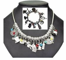 Alice in The Wonderland ( 11 Themed Charms) Silvertone Charm Necklace & Bracelet