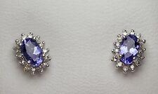 TANZANITE & DIAMOND 9ct ladies CLUSTER EARRINGS .60ct TANZANITE .11ct Diamonds