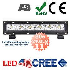 "2x SLIM DESIGN A&B 11"" 30W CREE LED Light Bar Off Road Work Lamp 2400LM Flood"