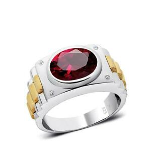 Silver Ruby Ring 4 Natural DIAMONDS Modern Men's Engagement Ring with Gemstone