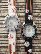 Boys Kids Silicone Rubber Jelly Geneva Baseball Bat Watch White Black