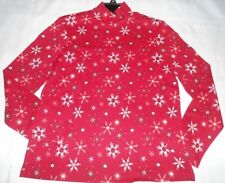 Laura Scott Women's snowflakes Long Sleeve Shirt Top size p medium Turtle Neck