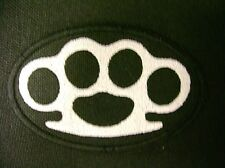 BRASS KNUCKLES EMBROIDERED PATCH BLACK & WHITE MADE IN USA